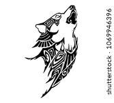 silhouette wolf howl head aztec ... | Shutterstock .eps vector #1069946396