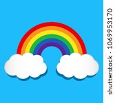rainbow and clouds on blue... | Shutterstock .eps vector #1069953170