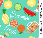 seamless juice on summer tone... | Shutterstock .eps vector #1069957766
