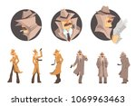 police detective and private... | Shutterstock .eps vector #1069963463