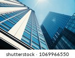up to see modern skyscrapers in ... | Shutterstock . vector #1069966550