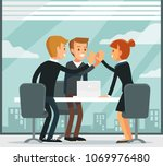 office workers in a meeting room | Shutterstock .eps vector #1069976480