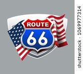 vintage route 66 logo.   Shutterstock .eps vector #1069977314