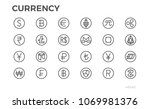 currency icons. dollar  bitcoin ... | Shutterstock .eps vector #1069981376