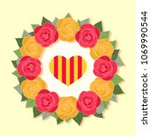 crown made of red and yellow... | Shutterstock .eps vector #1069990544