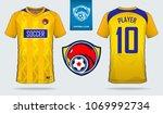 yellow blue soccer jersey ...   Shutterstock .eps vector #1069992734