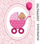 a little girl in a pink...   Shutterstock .eps vector #1069996790