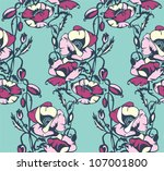 floral vector pattern with... | Shutterstock .eps vector #107001800