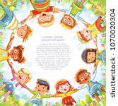 multinational group of children ... | Shutterstock .eps vector #1070020304