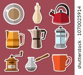 set of simple stickers coffee... | Shutterstock .eps vector #1070025914