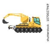 yellow excavator in 8 bit game... | Shutterstock .eps vector #1070027969
