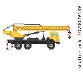 yellow crane truck in 8 bit... | Shutterstock .eps vector #1070029139