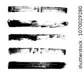 set of grunge brush. ink black... | Shutterstock .eps vector #1070029280