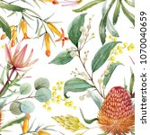 Tropical Floral Print  Orange...