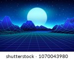 retro 80s styled futuristic... | Shutterstock .eps vector #1070043980