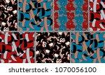 pachwork baroque flowers and...   Shutterstock . vector #1070056100