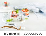 chia seed puddings with berries ... | Shutterstock . vector #1070060390