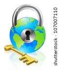 World globe like a locked padlock with key. Concept could be for internet security, data protection or general security - stock photo