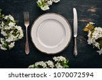 serving table in spring style.... | Shutterstock . vector #1070072594