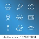 kitchen icon set and grill with ...