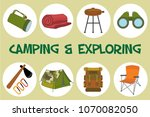 colorful set camping exploring... | Shutterstock .eps vector #1070082050