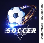 soccer ball with light effects. ... | Shutterstock .eps vector #1070086589