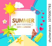 summer background with sweet... | Shutterstock .eps vector #1070087783