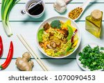 chinese noodles with vegetables ... | Shutterstock . vector #1070090453