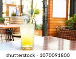 a glass of fresh ice cold... | Shutterstock . vector #1070091800