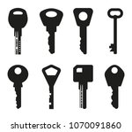 keys silhouette collection. key ... | Shutterstock .eps vector #1070091860