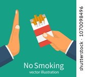 no smoking. reject cigarette... | Shutterstock .eps vector #1070098496