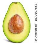 avocado slice isolated on white ... | Shutterstock . vector #1070107568