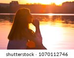 beautiful girl with white shirt ...   Shutterstock . vector #1070112746