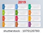 calendar planner for 2019 year. ... | Shutterstock .eps vector #1070120783