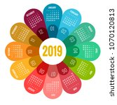 colorful round calendar 2019... | Shutterstock .eps vector #1070120813