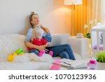 exhausted mother fallen asleep... | Shutterstock . vector #1070123936
