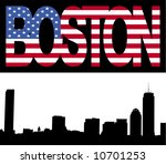 Boston skyline with Boston flag text illustration