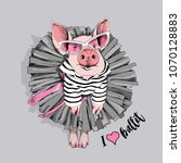 pig in a striped cardigan  in a ... | Shutterstock .eps vector #1070128883