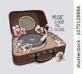 vintage portable gramophone...   Shutterstock .eps vector #1070128886