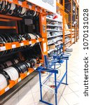 Small photo of Minsk, Belarus - March 30, 2018: Sale and rewind of electric cable of various manufacturers in store
