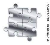 metal puzzles on a white... | Shutterstock . vector #1070132909