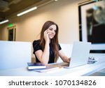 beautiful woman copywriter... | Shutterstock . vector #1070134826