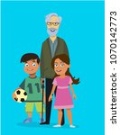 grandpa with the kids.vector... | Shutterstock .eps vector #1070142773