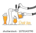 beer tapping in a bar. minimal... | Shutterstock .eps vector #1070143790