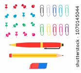 office multi colored paper pins ... | Shutterstock .eps vector #1070145044