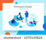 People resting and communicating in a common area. Open workspace and coworking. Landing page concept.3D isometric vector illustration. | Shutterstock vector #1070145824