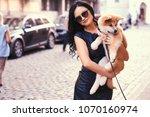 stylish brunette woman in a... | Shutterstock . vector #1070160974