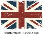 grunge british flag. | Shutterstock .eps vector #107016458