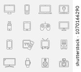 set of thin line devices icons... | Shutterstock . vector #1070166290