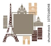 paris. vector frame with... | Shutterstock .eps vector #1070168048